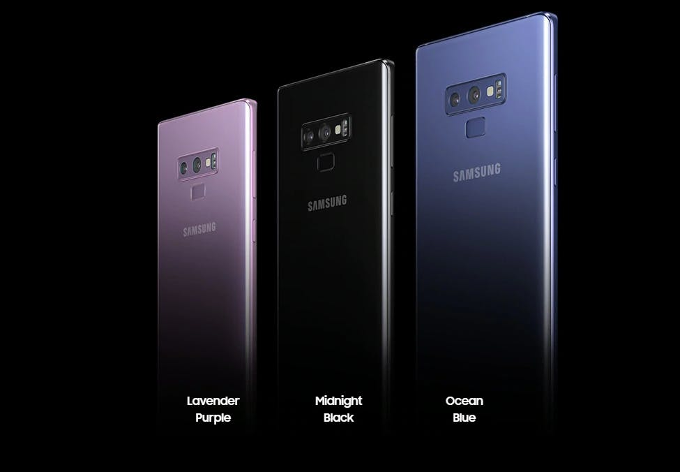 The Galaxy Note 9 colour variants. Source: samsung.com/uk