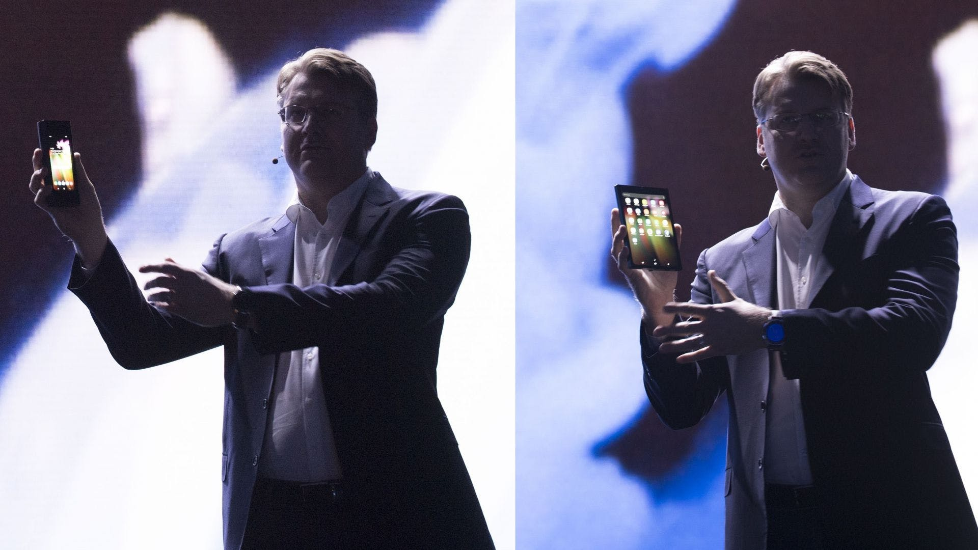 Justin Denison, SVP of Mobile Product Marketing showcases Samsung's foldable smartphone. SDC 2018.