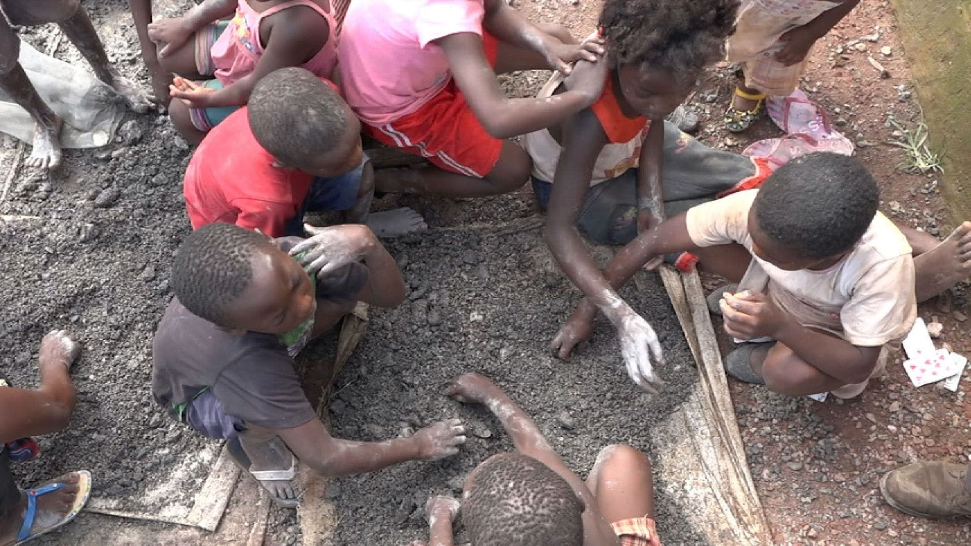 Young children work in the cobalt mines to source cobalt for our smartphones to work. Source: SkyNews