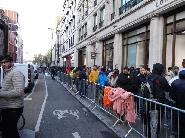 Queues outside Apple Store on Regent Street, London when iPhone X went on sale. Source: DailyMirror