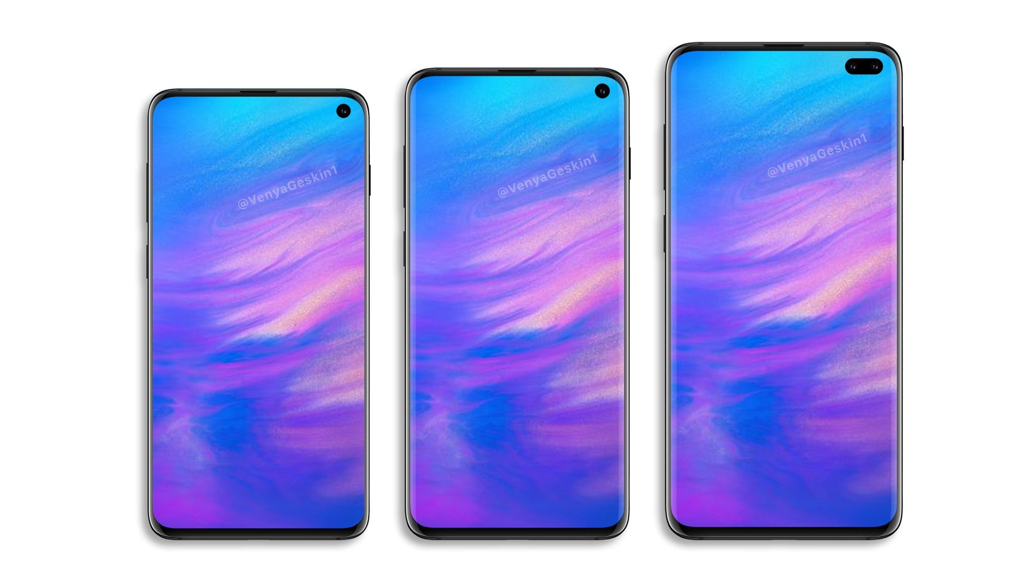 Samsung Galaxy S10 Lite, S10, S10 Plus Concepts By @VenyaGeskin1 Twitter