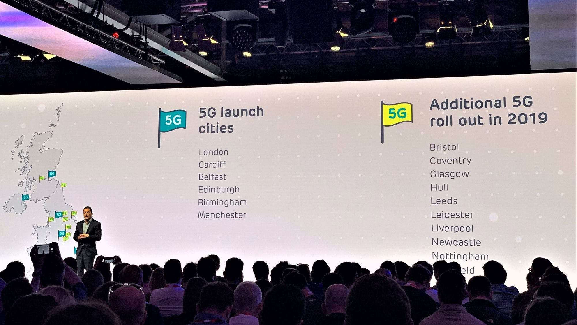 Marc Allera, CEO of BT's Consumer Brands, presents EE's 5G network rollout plans across the UK