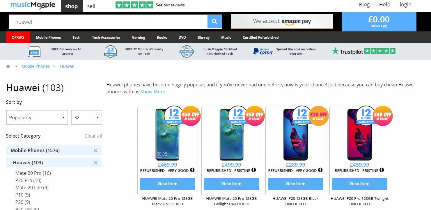 Refurbished Huawei prices on 28/05 at
