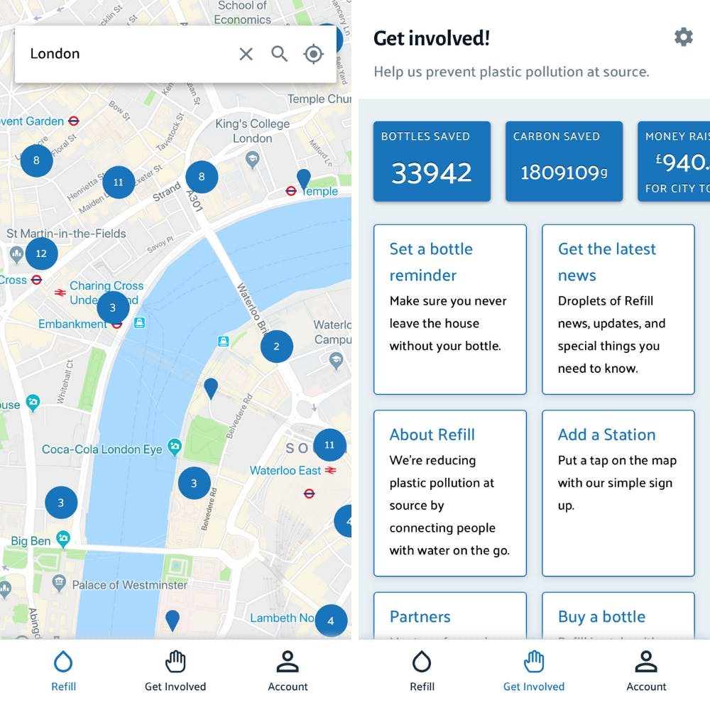 Refill is a handy app for finding water stations near you