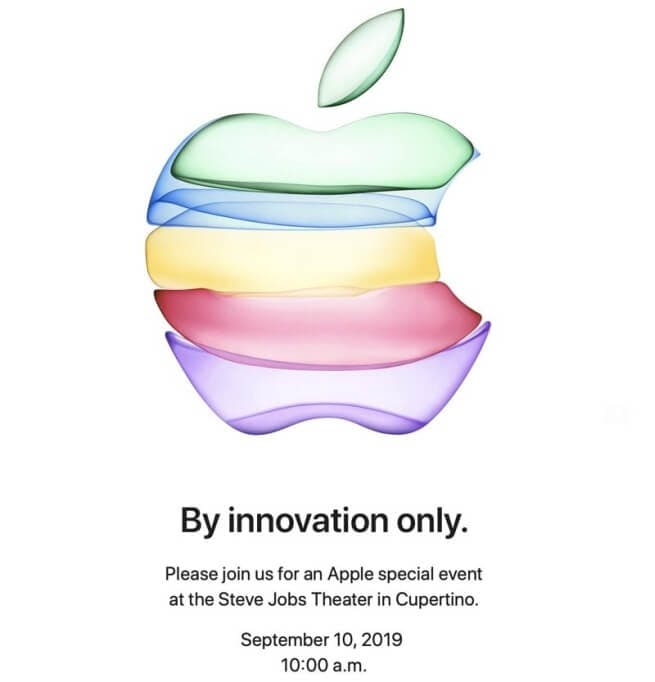Apple's invitation was sent to the press around the world to attend their launch event at the Steve Jobs theatre in Cupertino (California, USA) on Tuesday the 10th of September, 2019. / Image Credit: Apple